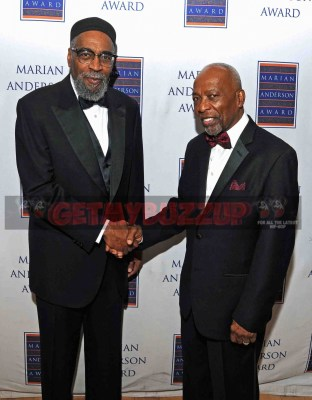 """Pioneering """"Sound of Philadelphia"""" architects Kenneth Gamble, left, and Leon Huff, congratulate each other as honorees at last night's 2016 Marian Anderson Awards. Photo credit: David Ickes."""