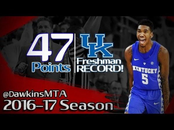 Malik Monk Full Highlights 2016.12.17 vs UNC – UNREAL 47 Pts, Kentucky Freshman RECORD!