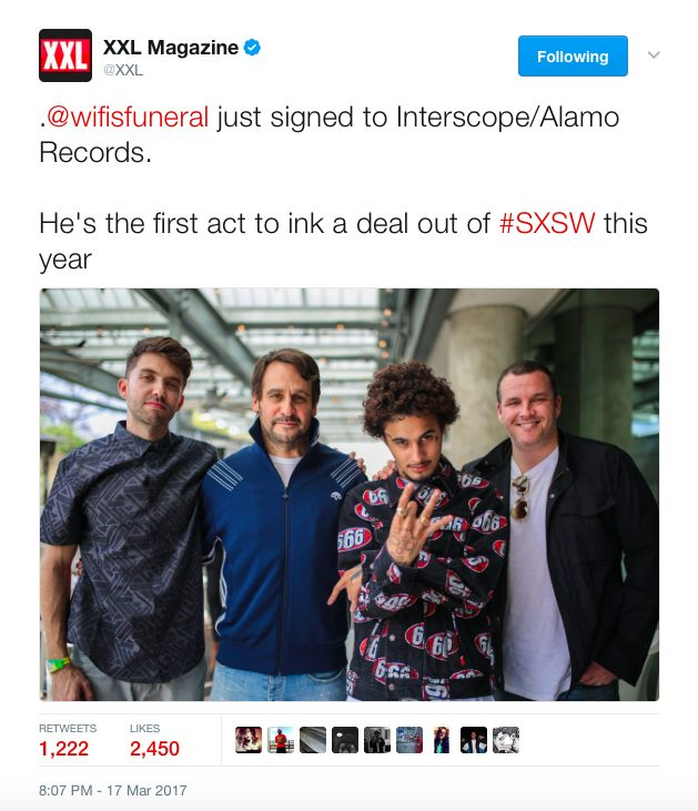 WIFISFUNERAL SIGNS WITH ALAMO/INTERSCOPE RECORDS DURING #SXSW17 [Music News]