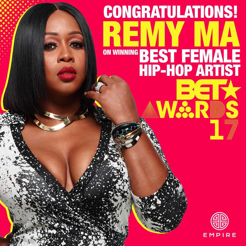Remy Ma Wins Best Female Hip Hop artist at 2017 BET Awards
