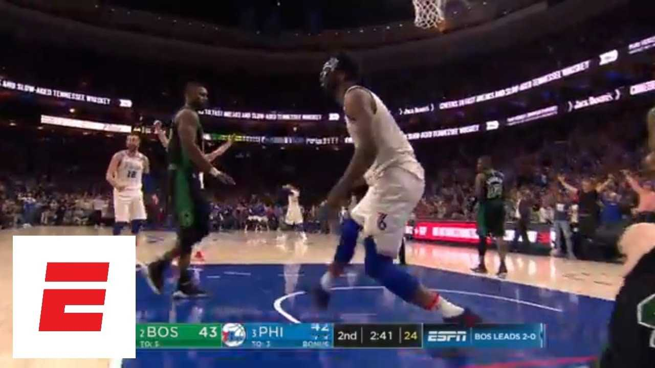 Ben Simmons assists Joel Embiid on massive dunk over Aron Baynes | ESPN