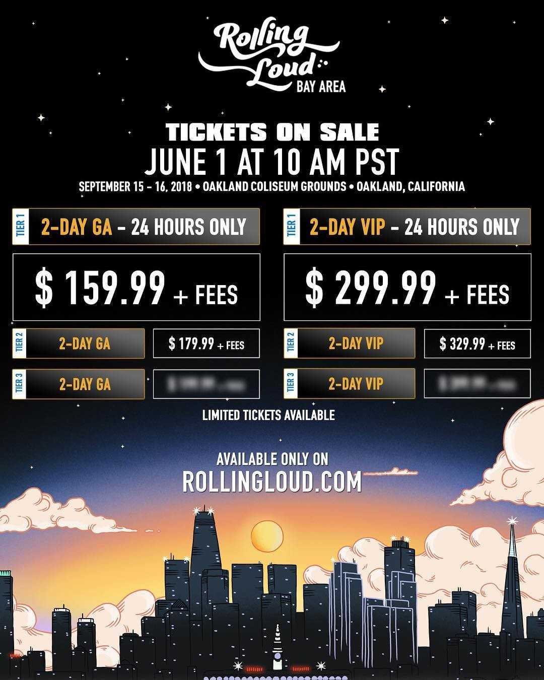 GA & VIP Tickets Now Available For Rolling Loud Bay Area 2018