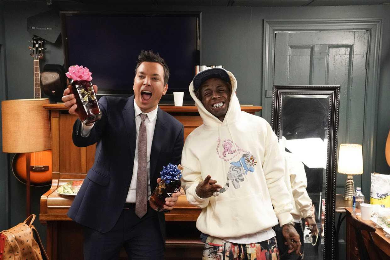 Lil Wayne Celebrates with Jimmy Fallon and Bumbu