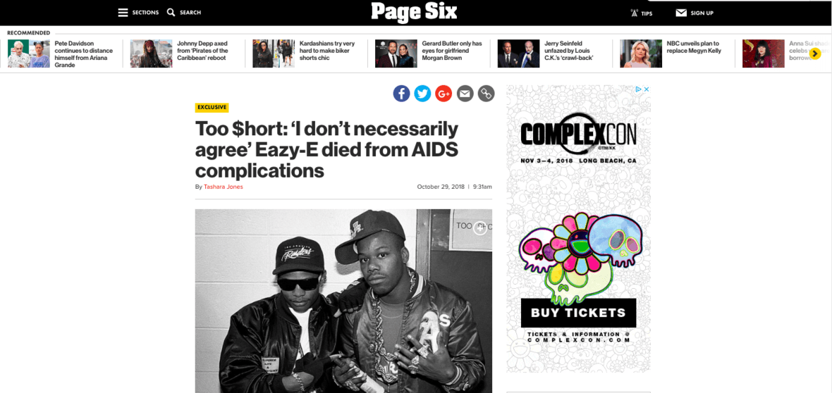 Too $hort Talks 'The Pimp Tape,' His Relationship With Eazy-E And More During An Exclusive Page Six Interview