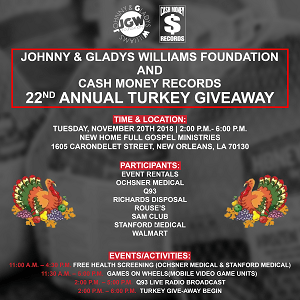 CASH MONEY RECORDS ANNOUNCES ANNUAL TURKEY GIVEAWAY IN NEW ORLEANS