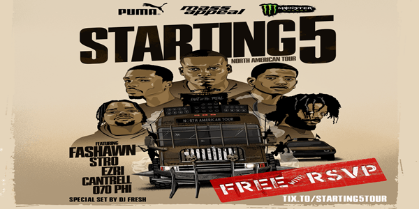 STARTING 5 Tour now FREE w/ RSVP thanks to Puma & Monster Energy!