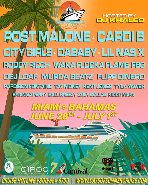 Days Of Summer Cruise Fest Adds Roddy Ricch, Brianna Perry, Zoey Dollaz, FBG, and Kiddo Marv to Its Formidable Lineup