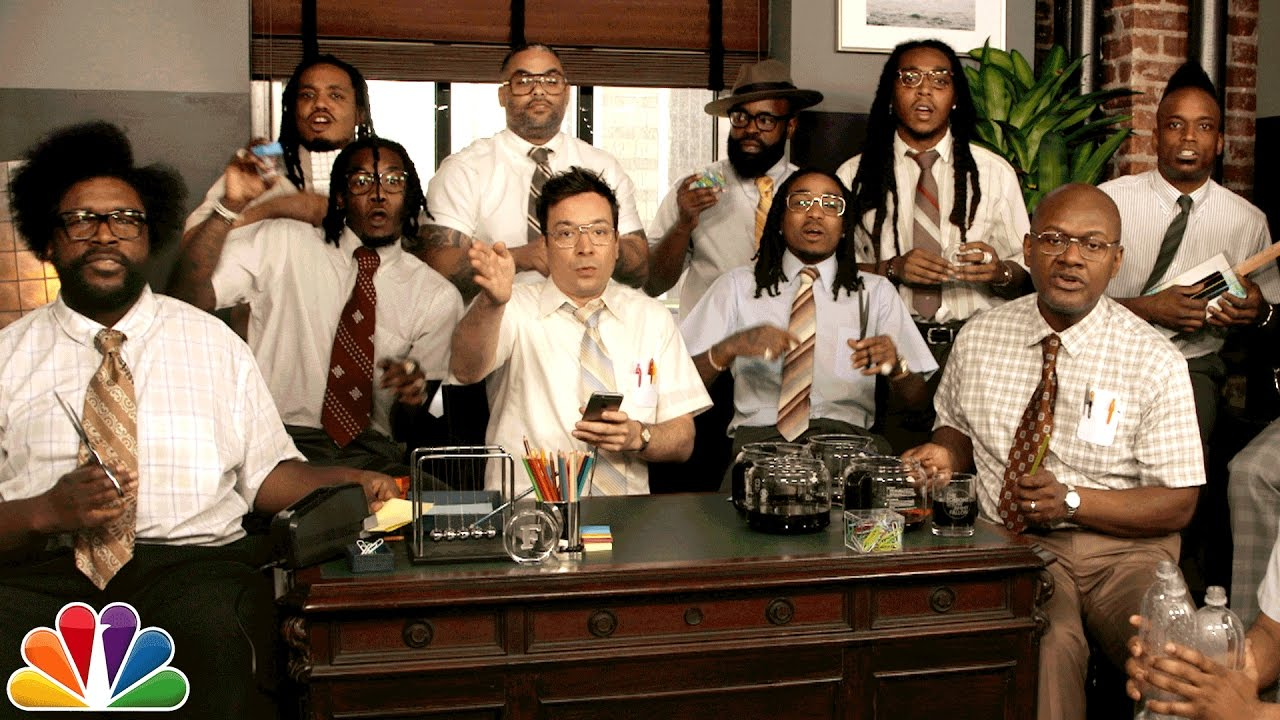"""Migos & The Roots & Jimmy Fallon Perform """"Bad and Boujee"""" with Office Supplies [Video]"""