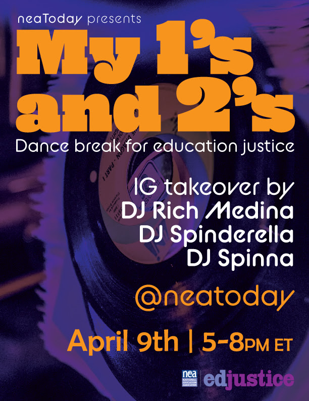 My 1's and 2's: LIVE Dance break for education justice with DJ Rich Medina, DJ Spinderella and DJ Spinna – THU APRIL 9th @ 5P ET