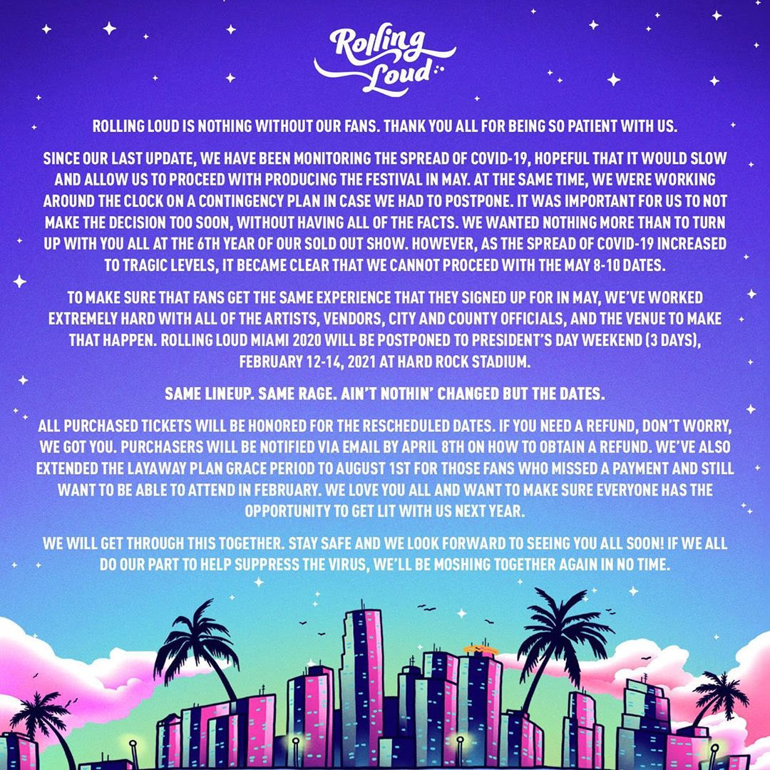 Rolling Loud Reschedules Miami Festival Due to Coronavirus
