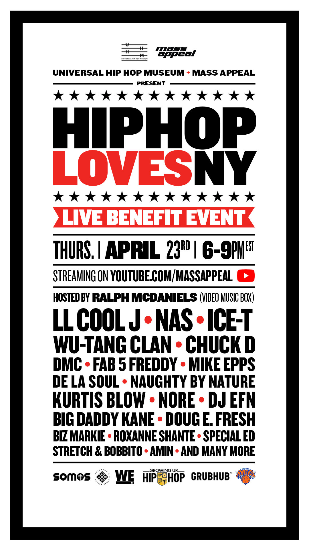 "TUNE IN TONIGHT: ""HIP HOP LOVES NY"" A SIMULCAST LIVE STREAMING BENEFIT EVENT TO SUPPORT NY HEATHCARE WORKERS"