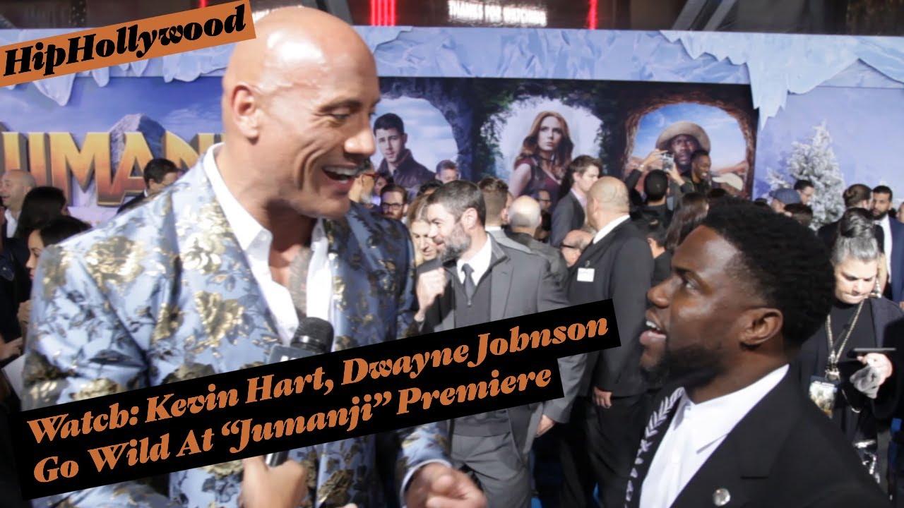 "Watch: Kevin Hart, Dwayne Johnson Go Wild At ""Jumanji"" Premiere"