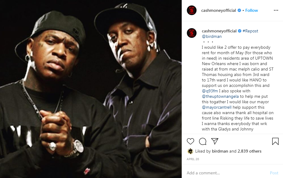 Cash Money Records Pays June Rent For Hundreds of Tenants in New Orleans Through Mayor's Fund