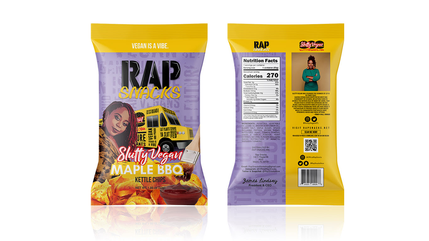 RAP SNACKS PARTNERS WITH PLANT-BASED RESTAURANT, SLUTTY VEGAN, FOR NEW VEGAN CHIPS AVAILABLE NOW!