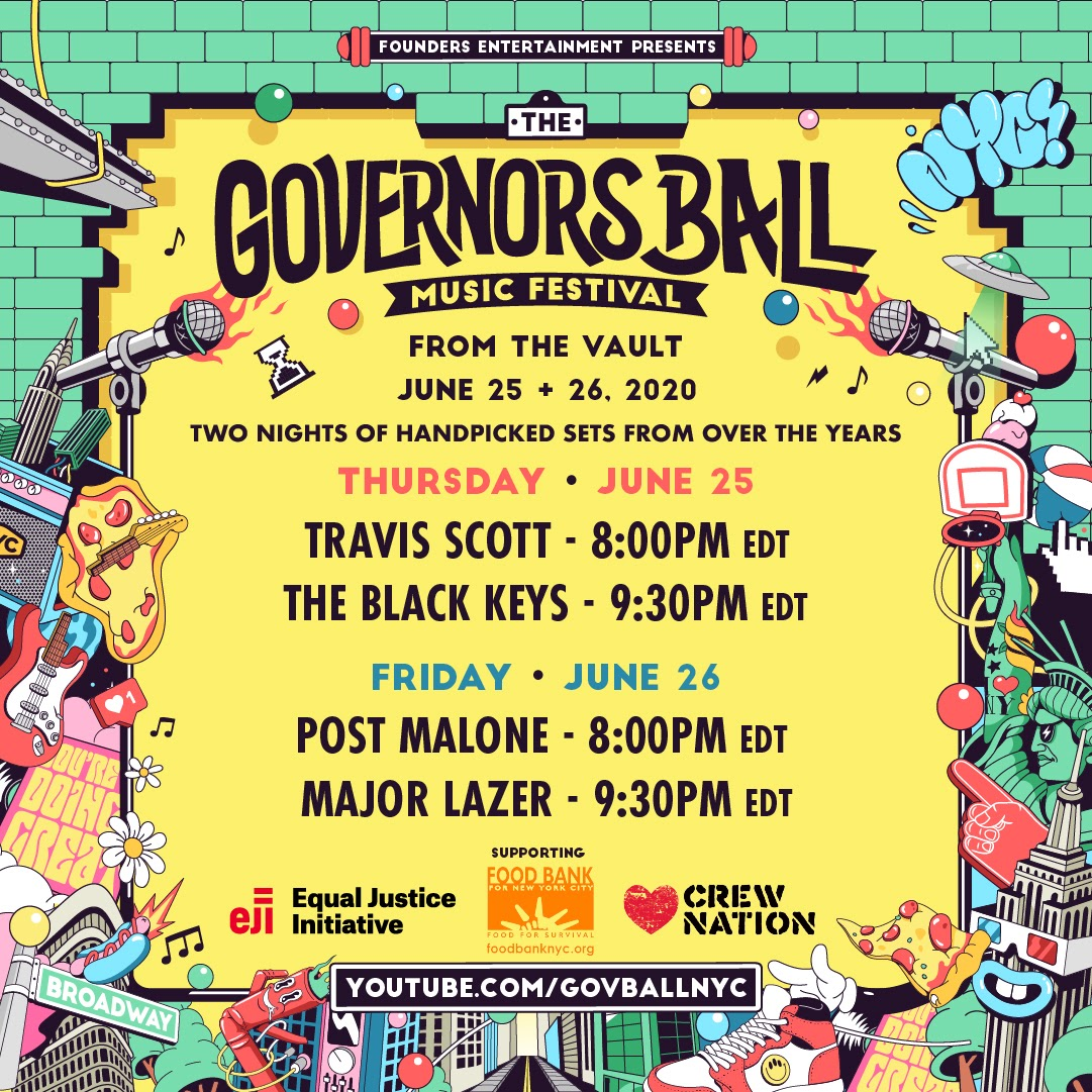 "Travis Scott, Post Malone, The Black Keys + Major Lazer sets continue Governors Ball's ""From The Vault"" series"