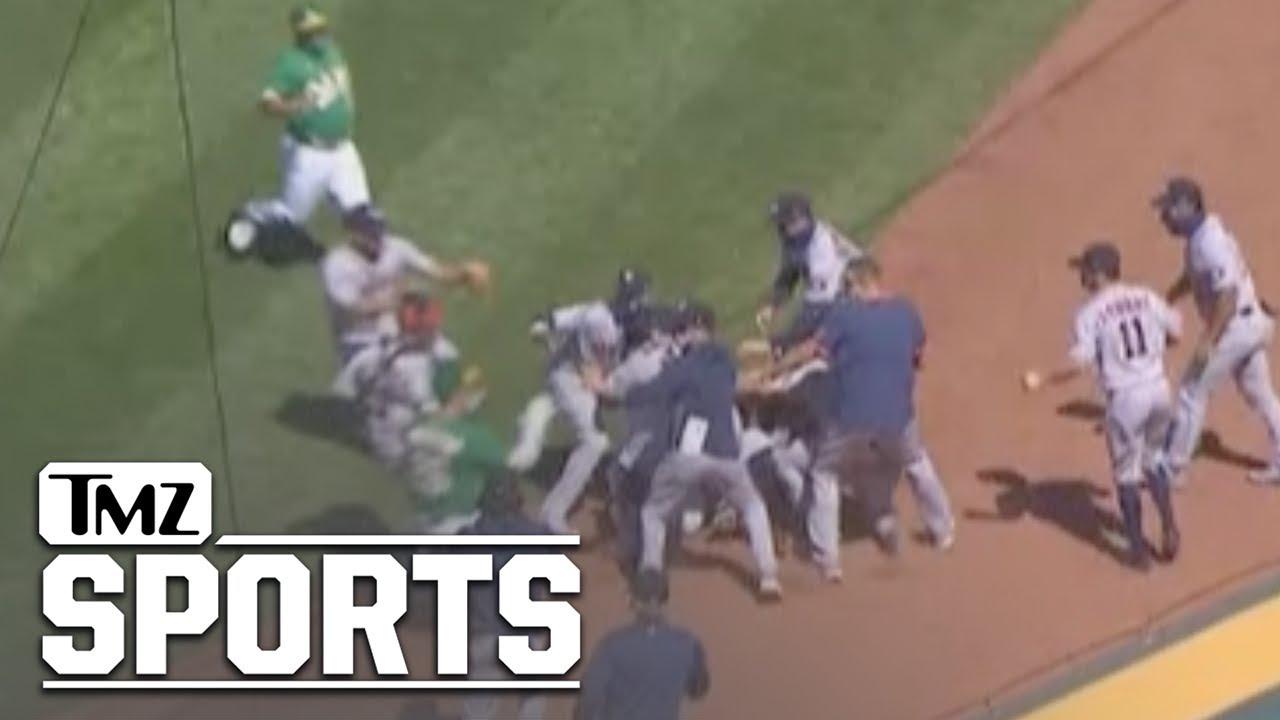 Oakland A's Batter Laureano Charges Astros' Dugout, Brawl Ensues   TMZ Sports
