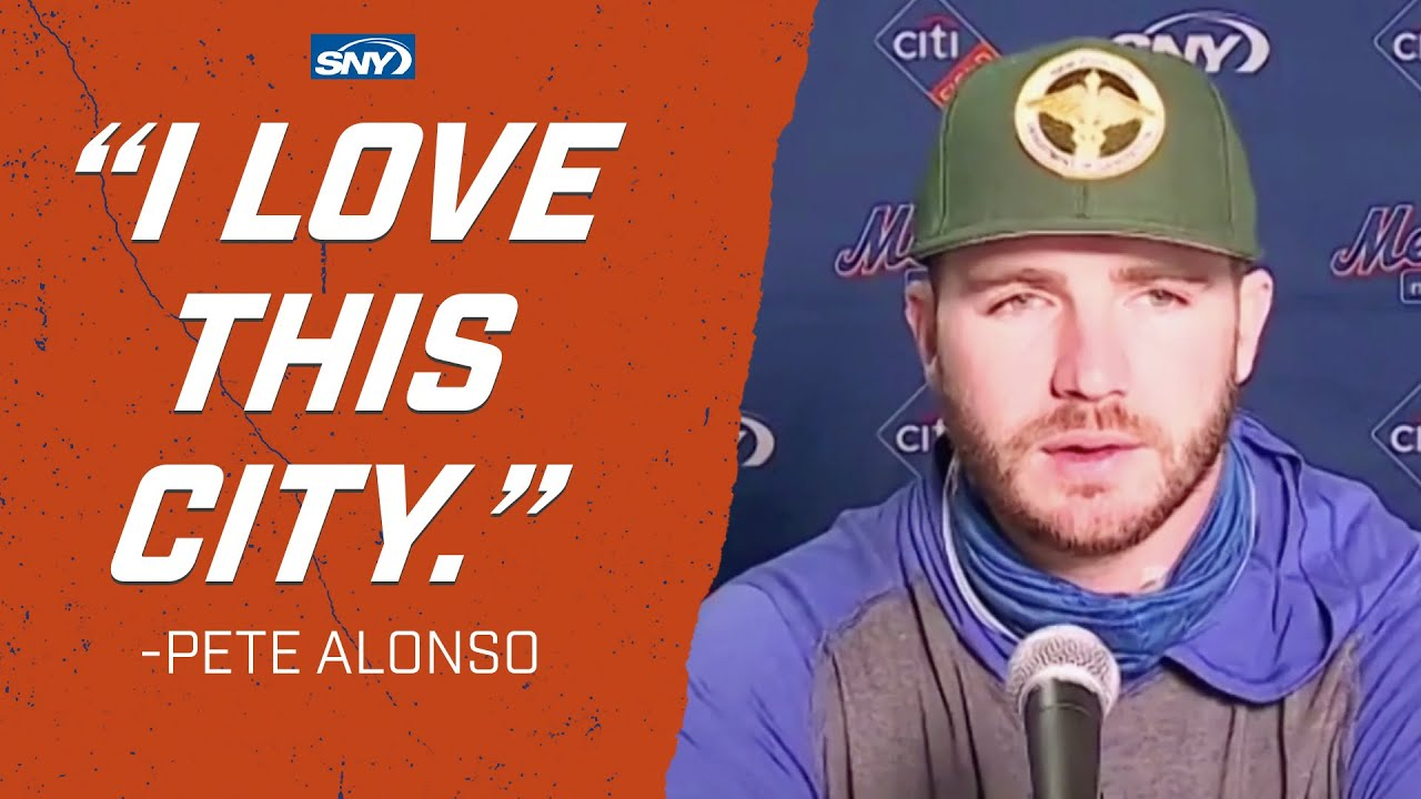 Pete Alonso talks about 9/11, and wearing first responders caps   New York Mets   SNY