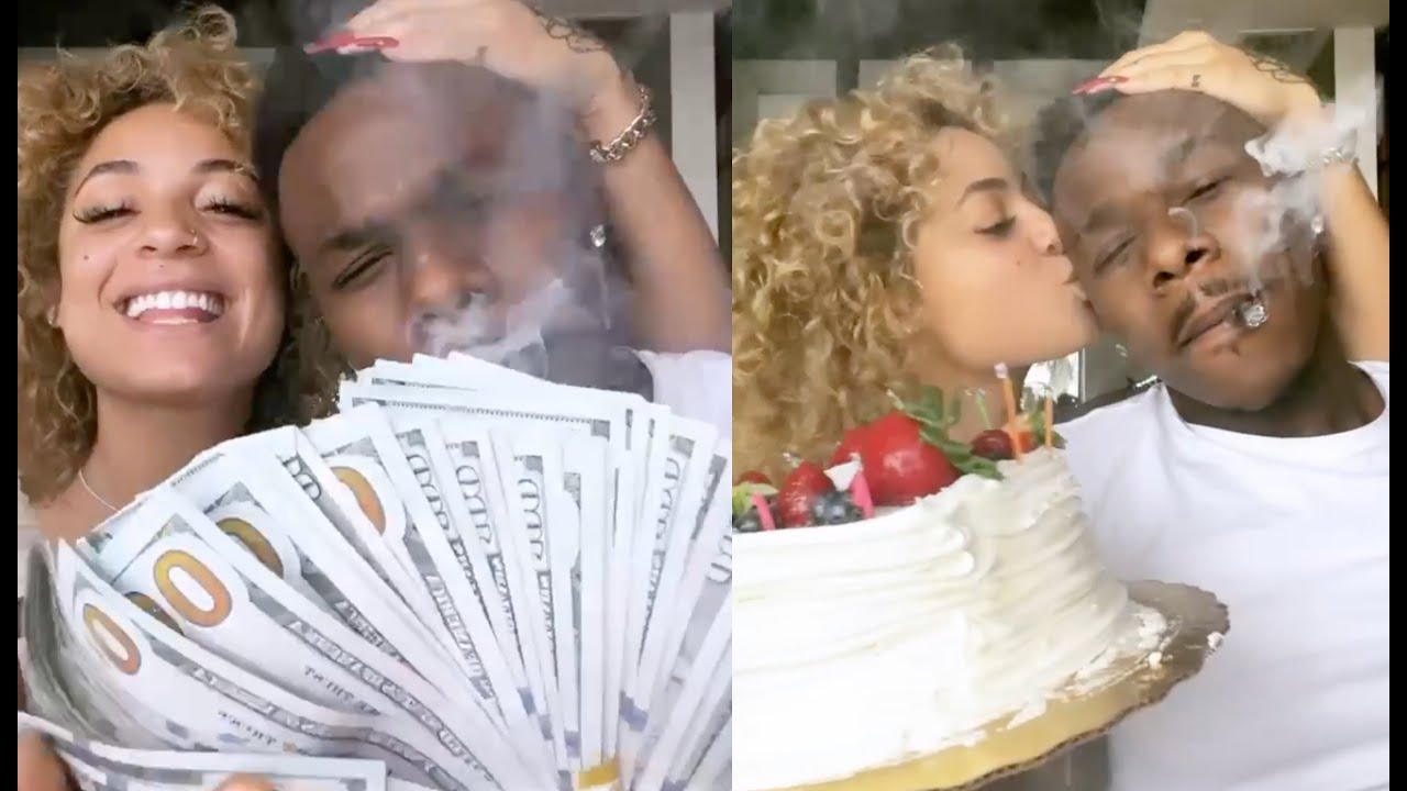 DaBaby Spurges On DaniLeigh Surprises Her With A Cake And Tons Of Cash In Miami