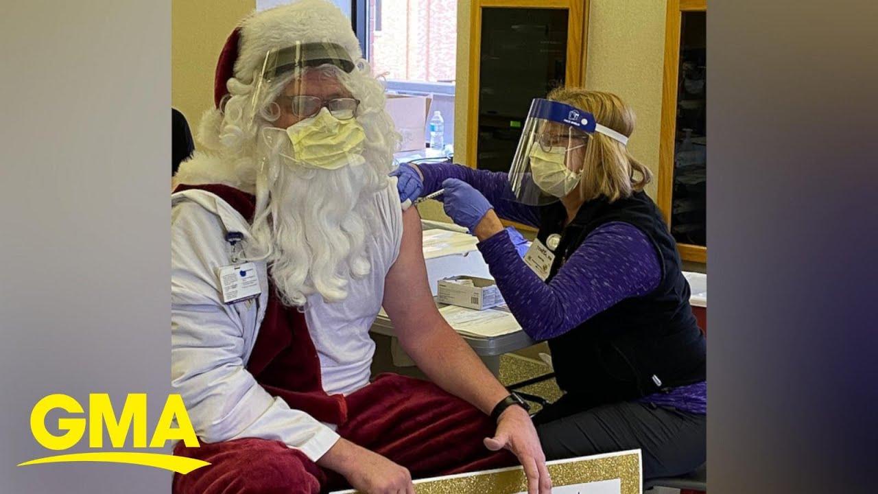 Santa got his COVID-19 vaccine just in time to deliver presents l GMA Digital