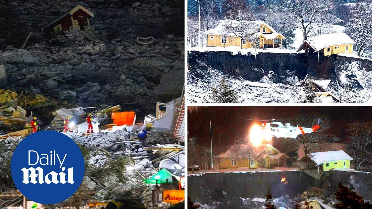 Norway landslide: Aerial footage shows devastating aftermath