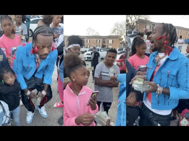 Sauce Walka Hands Out Money To The Kids In His Hood