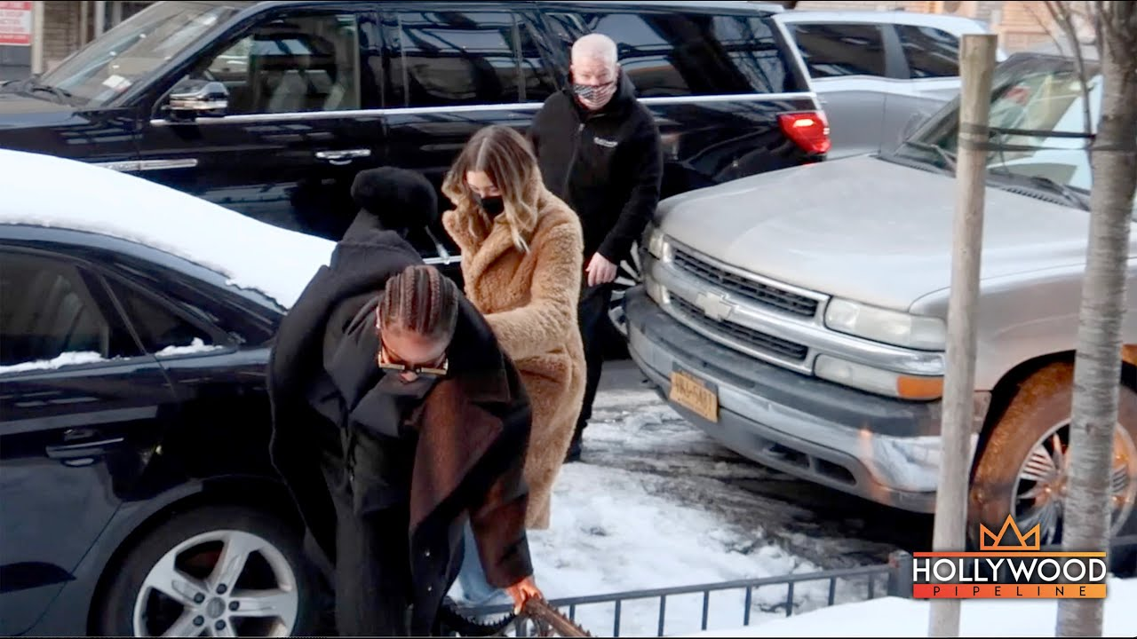 Hailey Bieber Tries to Catch Justine Skye as She Slips in the Snow in New York City