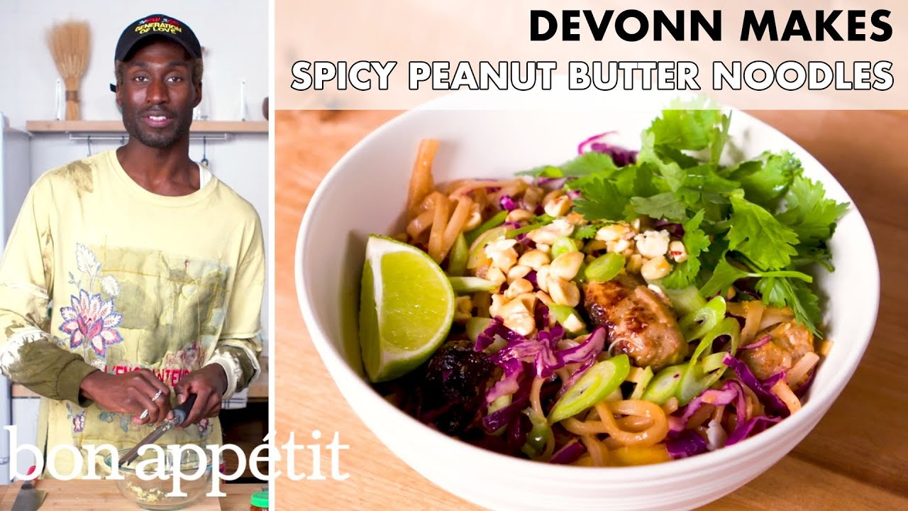 DeVonn Makes Spicy Peanut Butter Noodles with Sausage | From the Home Kitchen | Bon Appétit