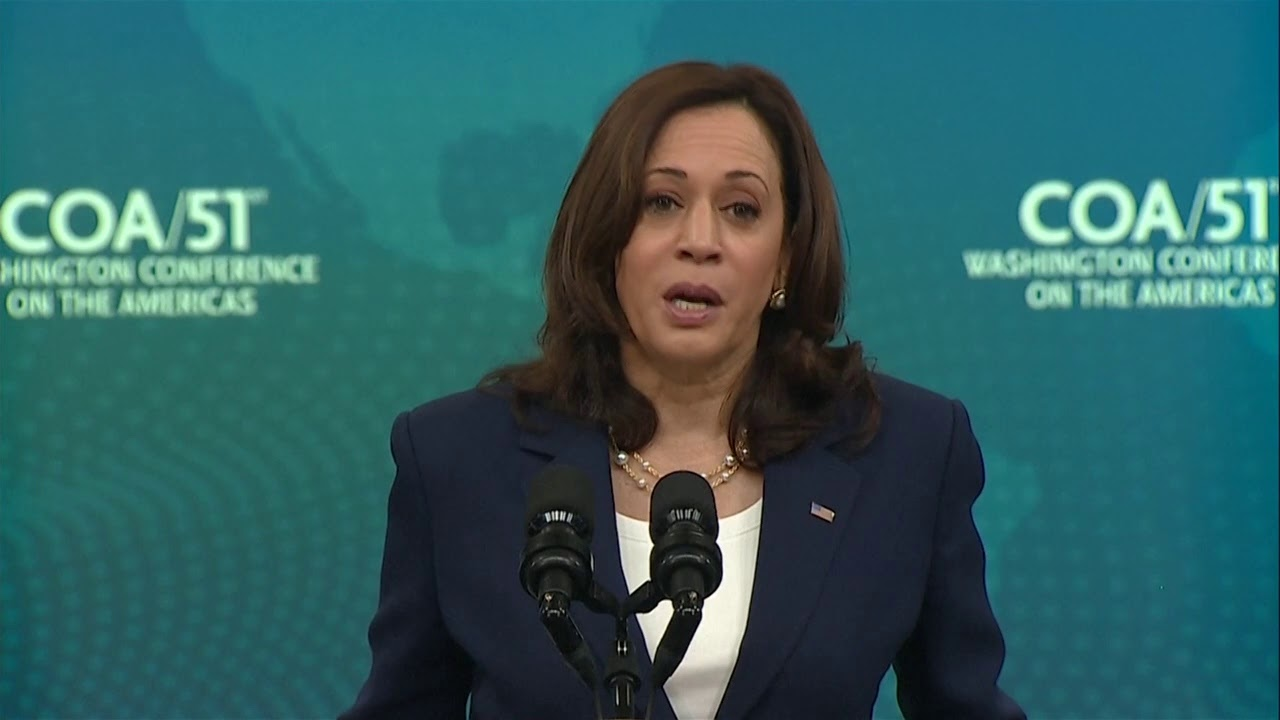 Vice President Kamala Harris delivers remarks to the Washington Conference on the Americas.