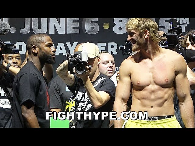 HIGHLIGHTS | MAYWEATHER VS. LOGAN PAUL 35-POUND SIZE DIFFERENCE WEIGH-IN