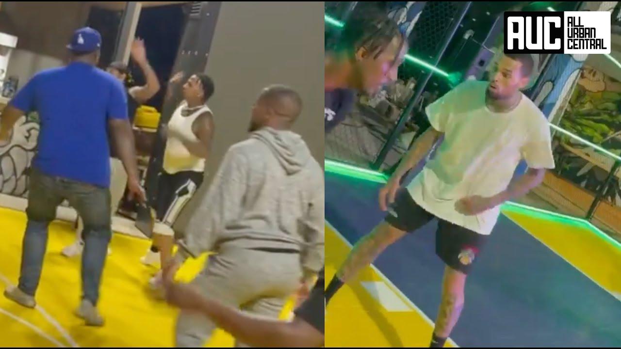 MoneyBagg Yo Has An Intense Basketball Game At Chris Brown Mansion