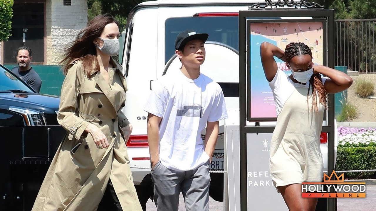 Angelina Jolie, Pax, and Zahara shopping at The Grove in Los Angeles