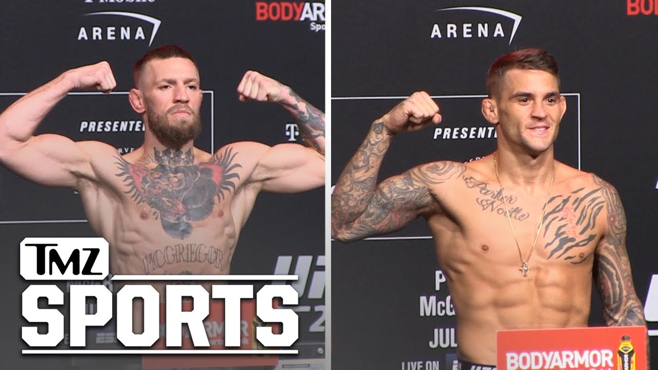 Conor McGregor and Dustin Poirier Step on the Scales Before UFC 264   TMZ Sports