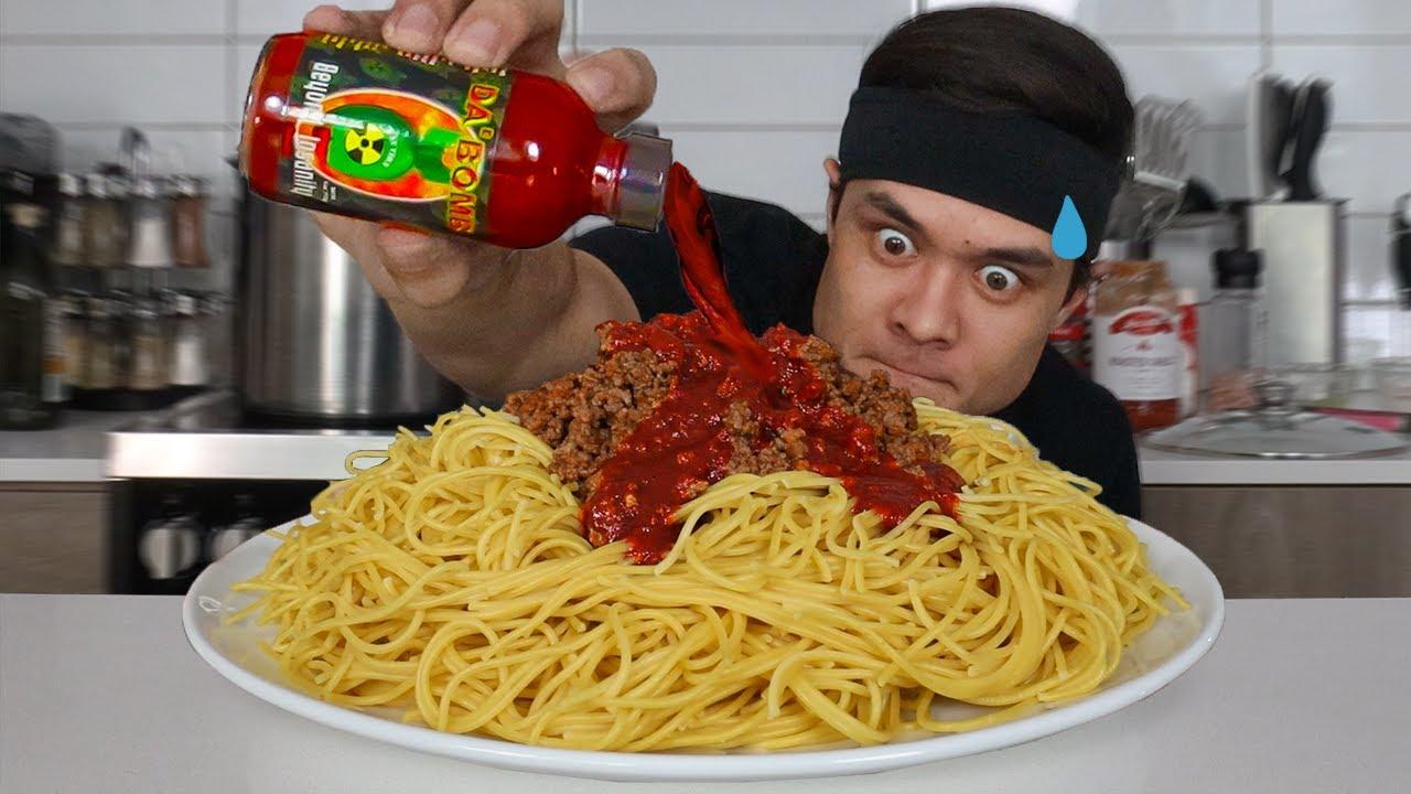 The Spiciest Spaghetti EVER…(ft. Whole bottle of 'Da Bomb')